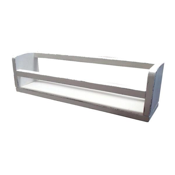 Επιτοίχιο Ράφι Αποθήκευσης Ξύλινο Για Βάζα Sifnos White Chocolate 50x11.5x14