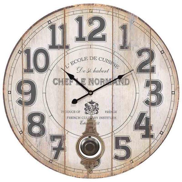 Επιτοίχιο Ρολόι Μπεζ Με Εκκρεμές 'Chef Le Normand' Δ58