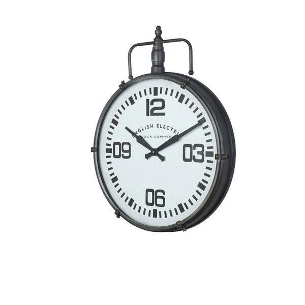 Επιτοίχιο Ρολόι Industrial Μεταλλικό Μαύρο Με Λευκό Καντράν 52x66