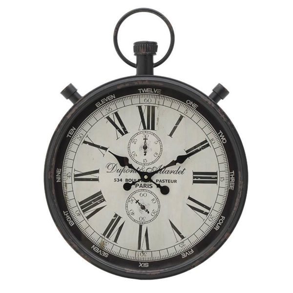 Επιτοίχιο Ρολόι Μαύρο Με Κρίκο Και Λευκό Καντραν Δ40 Υ60