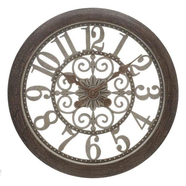Επιτοίχιο Ρολόι Με Διάτρητο Σχέδιο Αντικέ Καφέ/ Χρυσό Δ35.5