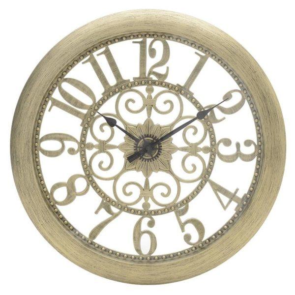 Επιτοίχιο Ρολόι Με Διάτρητο Σχέδιο Εκρού/ Χρυσό Δ51