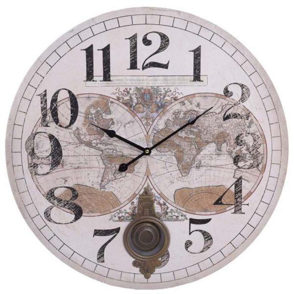 Επιτοίχιο Ρολόι Με Εκκρεμές Εκρού 'Υδρόγειος' Δ58