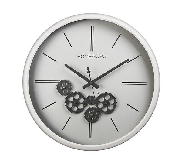 """Επιτοίχιο Ρολόι Με Κινούμενα Γρανάζια """"Homeguru"""" Λευκό/ Μαύρο Δ46"""