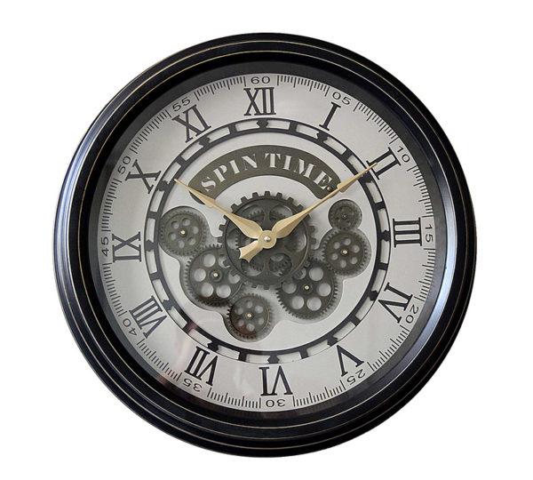 """Επιτοίχιο Ρολόι Με Κινούμενα Γρανάζια """"Spin Time"""" Λευκό/ Μαύρο Δ50"""