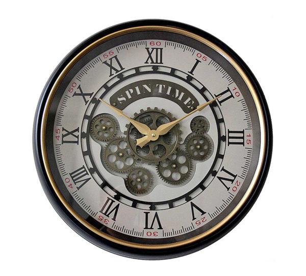 """Επιτοίχιο Ρολόι Με Κινούμενα Γρανάζια """"Spin Time"""" Λευκό/ Μαύρο Με Χρυσό Ρέλι Δ50"""