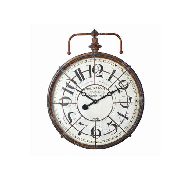 """Επιτοίχιο Ρολόι Με Μεταλλικό Αντικέ Καφέ Πλαίσιο Και Τζάμι """"Hotel Du Louvre"""" Δ44.5 Y55"""