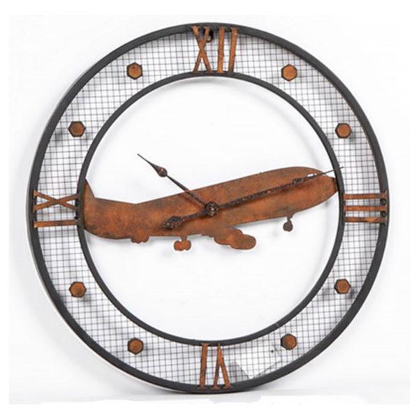 Επιτοίχιο Ρολόι Μεταλλικό Αντικέ Στρογγυλό ''Αεροπλάνο''