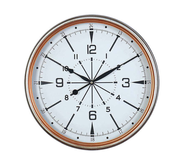 Επιτοίχιο Ρολόι Μεταλλικο 'Compass' Ασημι Με Χάλκινο Ρέλι Δ40