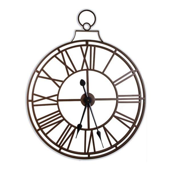 Επιτοίχιο Ρολόι Μεταλλικό Καφέ 'Big Ben' Με Λατινικούς Αριθμούς Καφέ 77x97