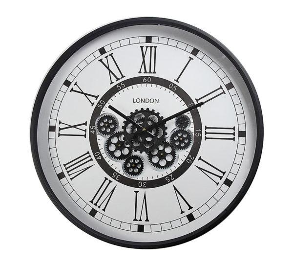 Επιτοίχιο Ρολόι Μεταλλικό Με Κινούμενα Γρανάζια Λευκό/ Μαύρο Δ59.5
