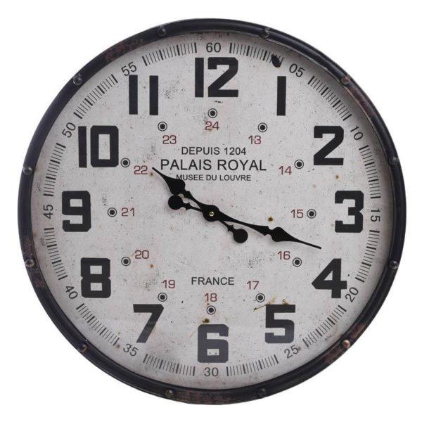 Επιτοίχιο Ρολόι Μεταλλικό Στρογγυλό Λευκό/ Μαύρο Δ61