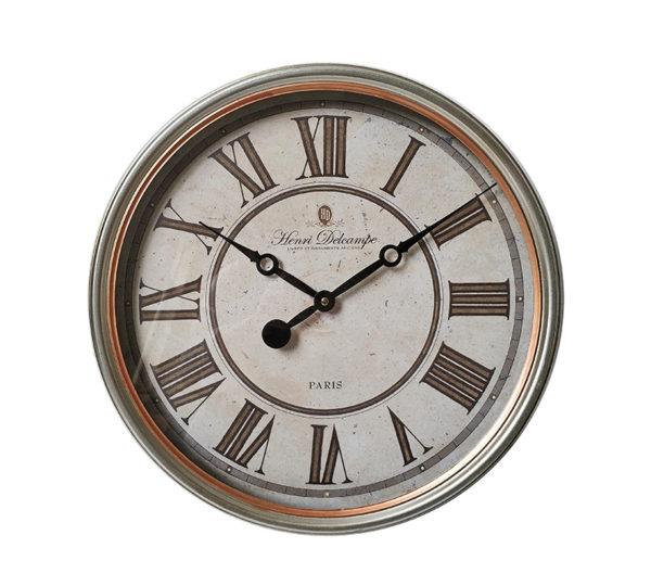 Επιτοίχιο Ρολόι Μεταλλικο Vintage Ασημί Με Χάλκινο Ρέλι Δ40