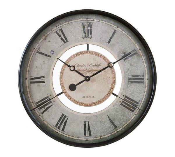 Επιτοίχιο Ρολόι Μεταλλικό Vintage Γκρι Με Μαύρο Πλαίσιο Δ60