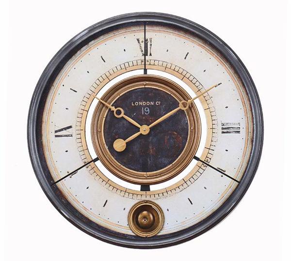 """Επιτοίχιο Ρολόι Μεταλλικό Vintage """"London"""" Με Εκκρεμές Εκρού/ Χρυσό Με Μαύρο Πλαίσιο Δ60"""