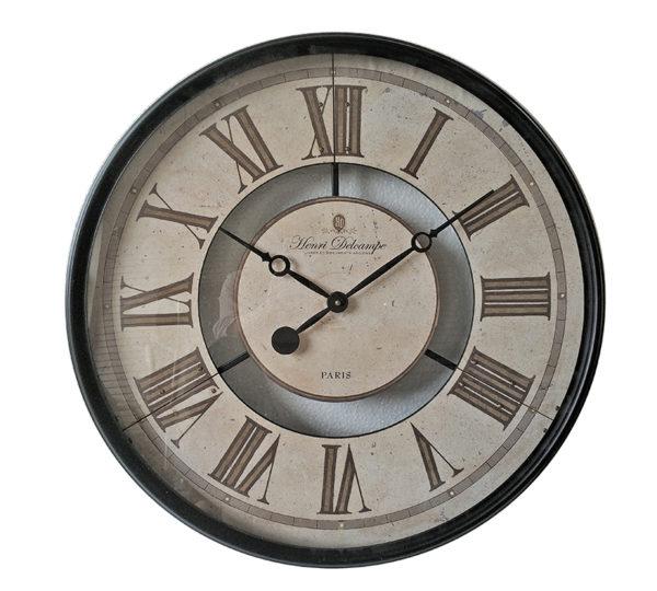 Επιτοίχιο Ρολόι Μέταλλο/ Γυαλί Μπεζ Με Μαύρο Πλαίσιο Δ60