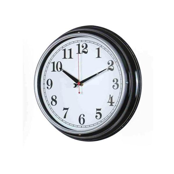 Επιτοίχιο Ρολόι Ρετρό Μεταλλικό Μαύρο Με Λευκό Καντράν Δ31