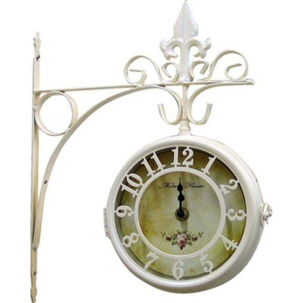 Επιτοίχιο Ρολόι Σταθμού Μεταλλικό Μπεζ/ Εκρού
