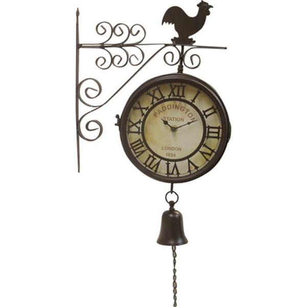 Επιτοίχιο Ρολόι Σταθμού Μεταλλικό Καφέ Με Καμπανάκι 31.5x60