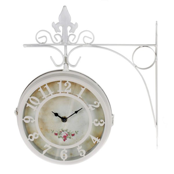 Επιτοίχιο Ρολόι Σταθμού Μεταλλικό Λευκό Με Ρομαντικό Καντράν 31.5x36
