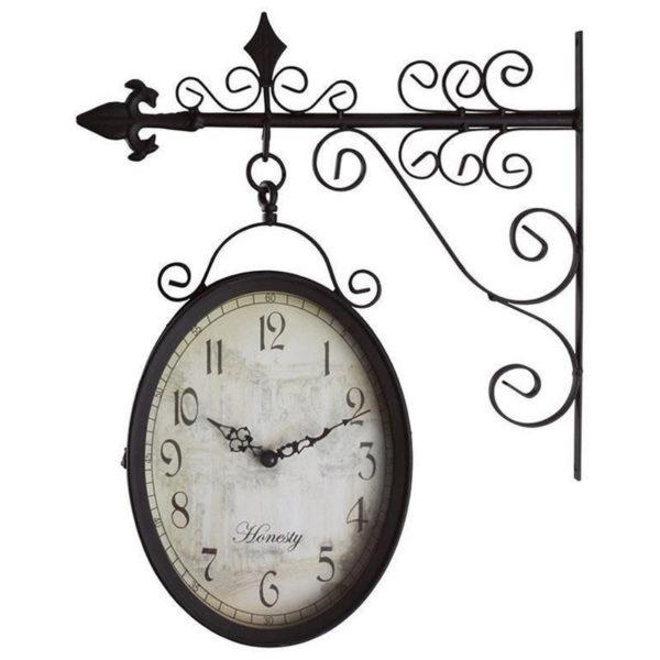 Επιτοίχιο Ρολόι Σταθμού Μεταλλικό Μαύρο Οβάλ 2 Όψεων Με Βραχίονα 36x38