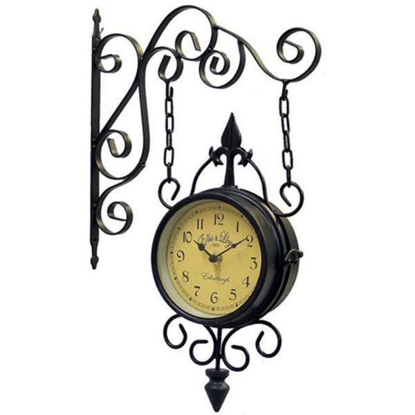 Επιτοίχιο Ρολόι Σταθμού Μεταλλικό Σκούρο Καφέ Με Kαμπυλωτούς Βραχίονες 29x46