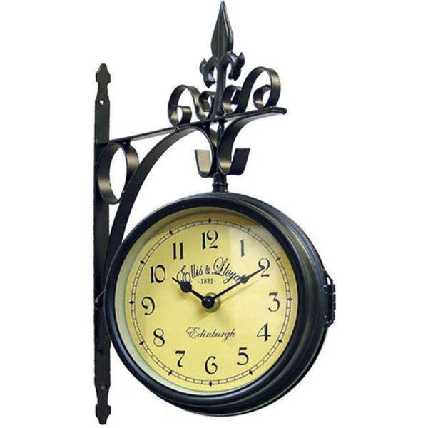 Επιτοίχιο Ρολόι Σταθμού Μεταλλικό Σκούρο Καφέ Με Βραχίονα 25x32