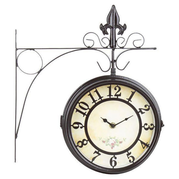 Επιτοίχιο Ρολόι Σταθμού Μεταλλικό Σκούρο Καφέ Με Βραχίονα 30.5x35.5