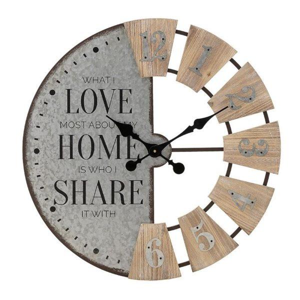 Επιτοίχιο Ρολόι Στρογγυλό Μεταλλικό Με Ξύλινα Τεμάχια 'Share' 63x4,5