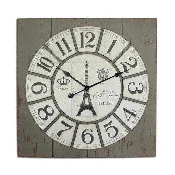 Eπιτοίχιο Ρολόι Τετράγωνο Ξύλινο Γκρι Πατίνα Με Ανάγλυφους Αριθμούς ''Aifel''