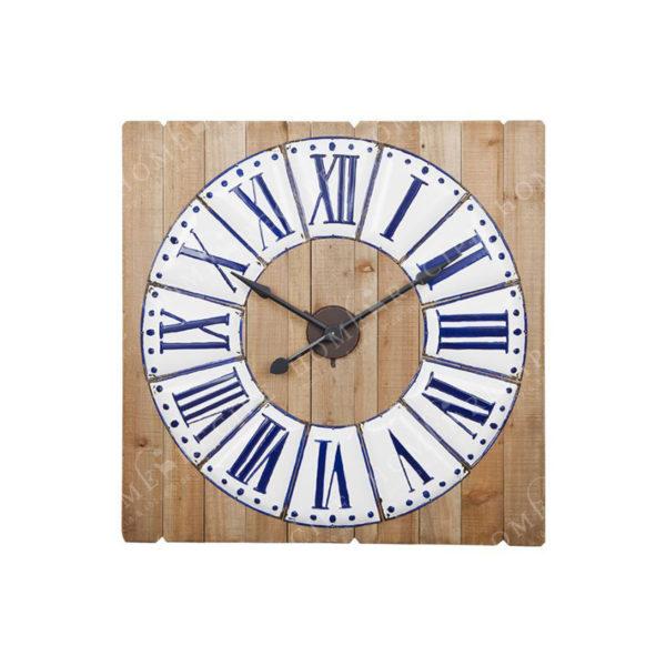 Επιτοίχιο Ρολόι Τετράγωνο Ξύλινο Με Λευκή Μπλε Μπορντούρα Μ91.5