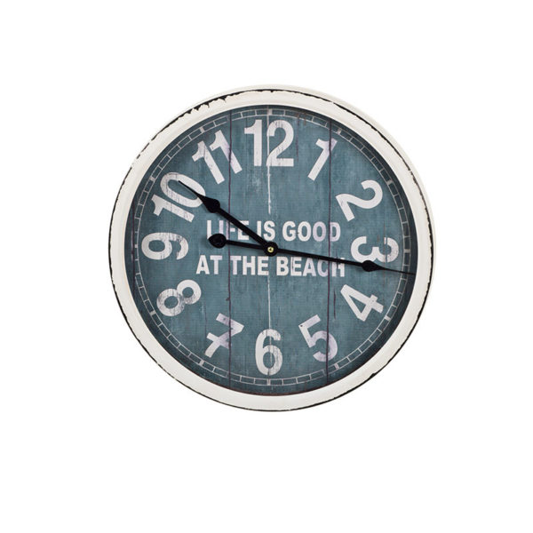 """Επιτοίχιο Ρολόι Vintage Ξύλινο Λευκό/ Μπλε """"Life Is Good At The Beach"""" Δ35.5"""