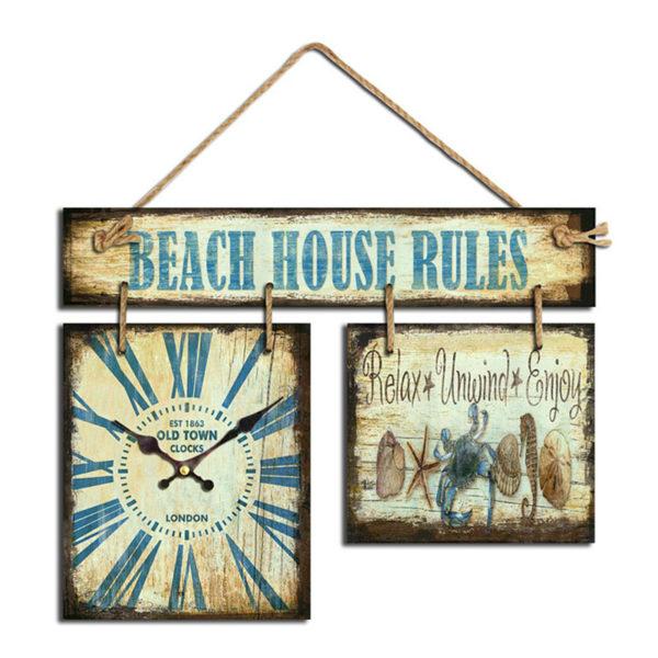Eπιτοίχιο Ρολόι Ξύλινο Μπλε Με Πινακίδα ''Beach House Rules''