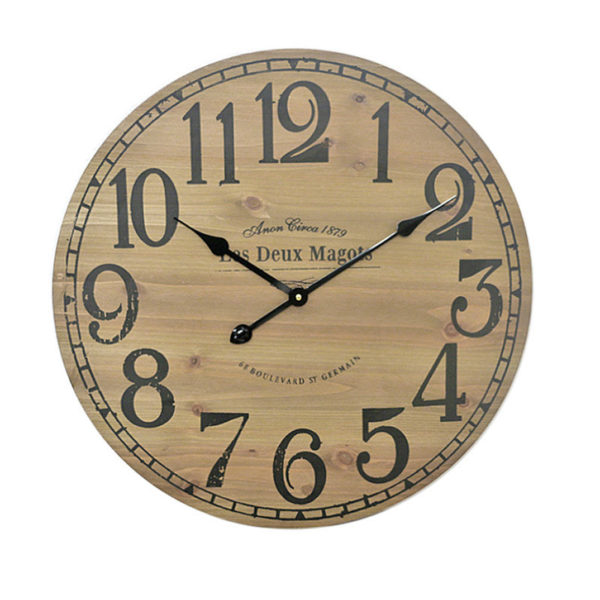 """Επιτοίχιο Ρολόι Ξύλινο Καφέ """"Les Deux Magots"""" Δ60"""