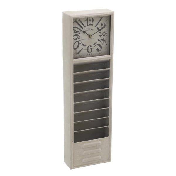 Επιτοίχιο Ρολόι Ξύλινο Μακρόστενο Εκρού Με Θήκες Για Φακέλους Υ70.5
