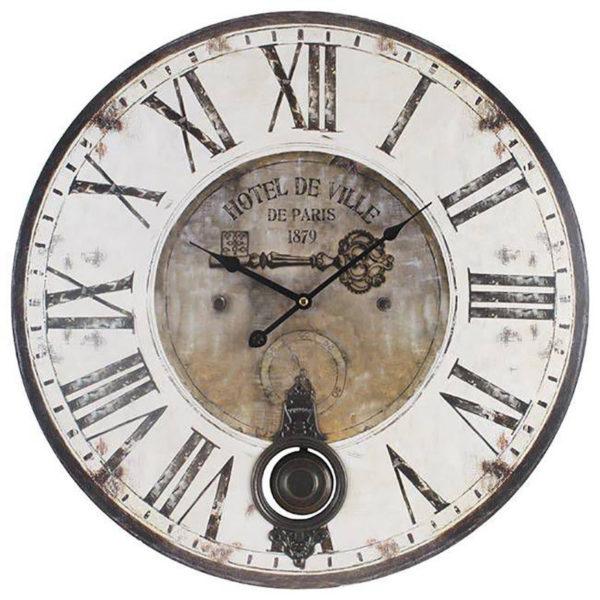 Επιτοίχιο Ρολόι Ξύλινο Με Εκκρεμές ''Hotel De Ville'' Λευκό Μαύρο Δ58