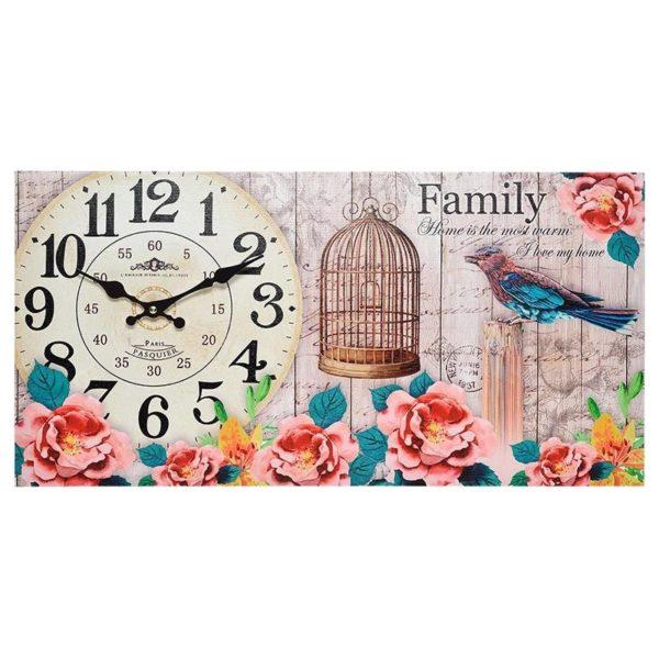 Επιτοίχιο Ρολόι Ξύλινο Ορθογώνιο Φλοράλ Σε Καμβά ''Family''
