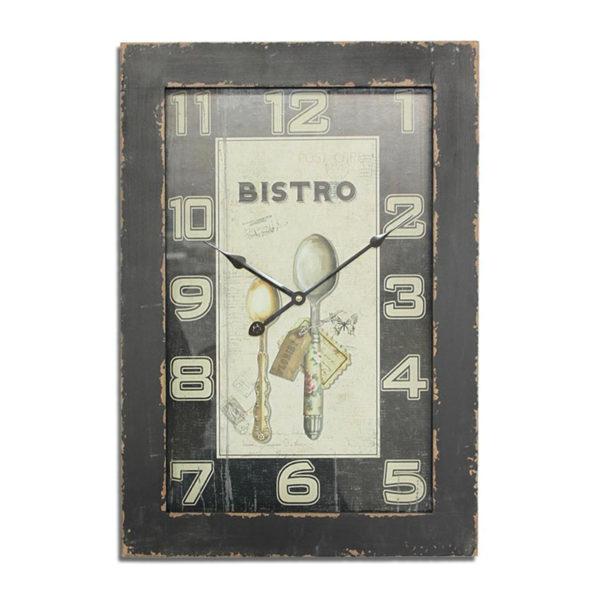 Eπιτοίχιο Ρολόι Ξύλινο Ορθογώνιο Μαύρο Με Γυάλινο Καντράν ''Bistro''