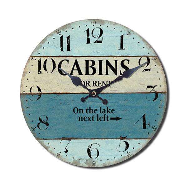 Eπιτοίχιο Ρολόι Ξύλινο Στρογγυλό Σε Μπλε/ Μπεζ Πατίνα ''Cabins For Rent'' Δ60
