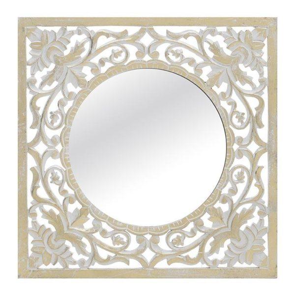 Επιτοίχιο Ξυλόγλυπτο/ Καθρέπτης Λευκό/ Χρυσό 60x60