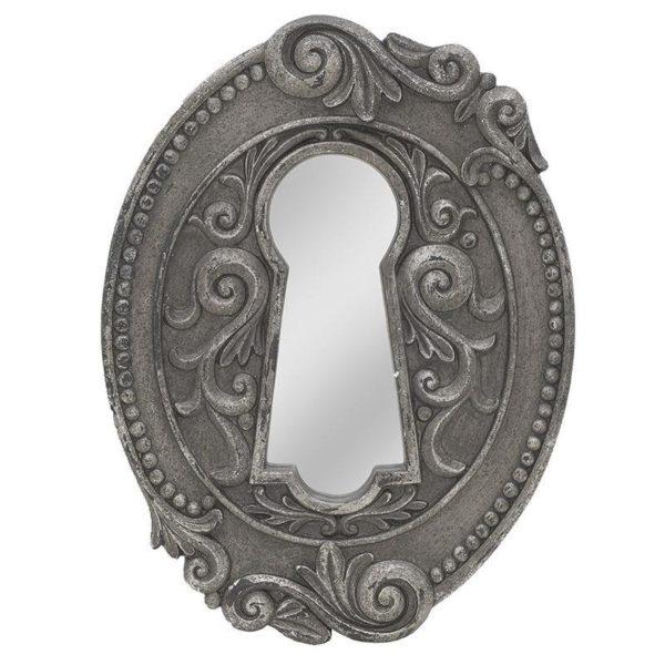 """Επιτοίχιος Καθρέπτης Με σκαλιστή Κορνίζα Ασημί/ Γκρι """"Κλειδαρότρυπα"""" Μ32 Υ43"""
