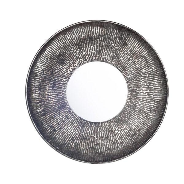 Επιτοίχιος Καθρέπτης Μεταλλικός Στρογγυλός Ασημί Με Φαρδιά Σφυρήλατη Κορνίζα Δ62.5