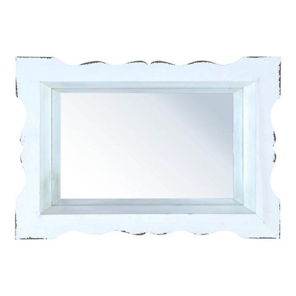 Επιτοίχιος Καθρέπτης Ορθογώνιος Ξύλινος Λευκός Με Παλαίωση 44x30
