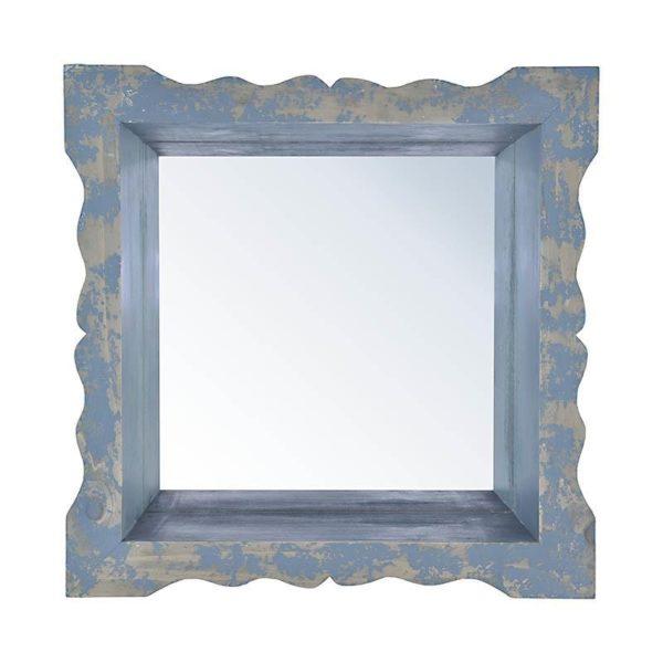 Επιτοίχιος Καθρέπτης Τετράγωνος Ξύλινος Μπλε Με Παλαίωση 38x38