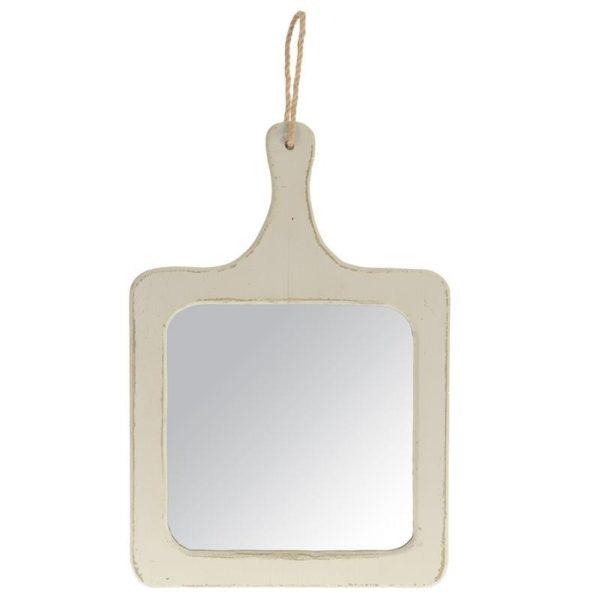 Επιτοίχιος Καθρέπτης Ξύλινος Ανοιχτό Γκρι Με Σχοινί Κρέμασης ''Επιφάνεια Κοπής'' 27x40