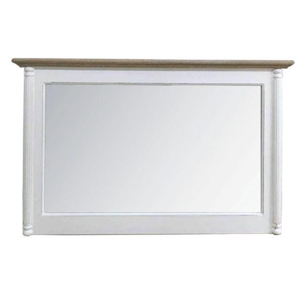 Επιτοίχιος Καθρέπτης Ξύλινος Λευκός Με Ντεκαπέ Στέψη Μ110 Υ70