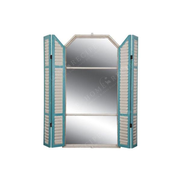 Επιτοίχιος Καθρέπτης Ξύλινος Με Παντζούρια 'Παράθυρο' Μπεζ/ Βεραμάν Υ145
