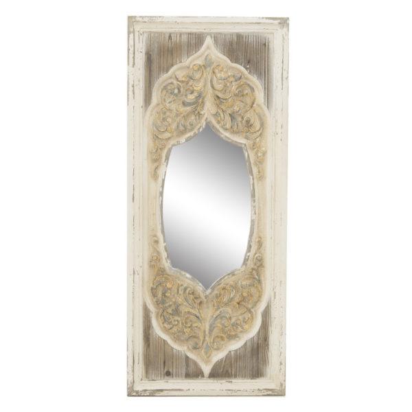 Επιτοίχιος Μακρόστενος Καθρέπτης Ξύλινος Εκρού/ Χρυσό Με Παλαίωση Υ114