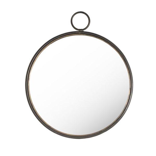Επιτοίχιος Μεταλλικός Καθρέπτης 'Simple Line', Στρογγυλός Μαύρος Δ60.5