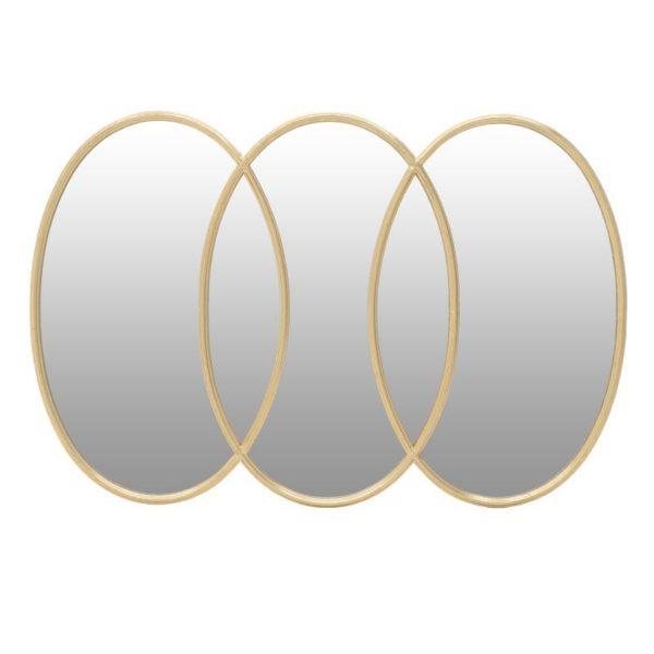 Επιτοίχιος Τριπλός Καθρέπτης Μεταλλικός Χρυσός 'Rings' Μ106 Υ70